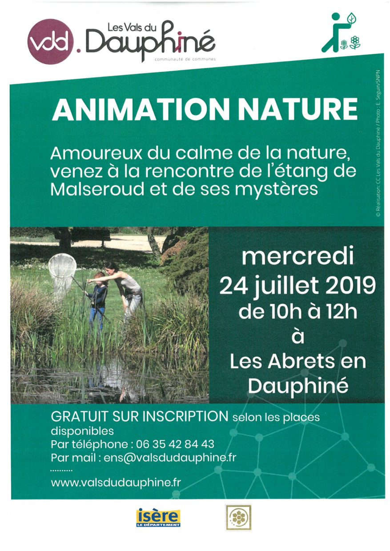 affiche animation nature du 24 juillet 2019