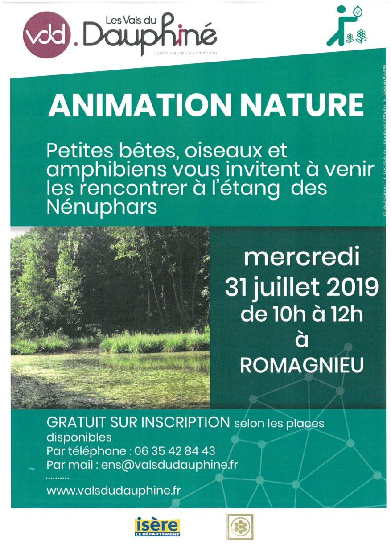 affiche animation nature du 31 juillet 2019
