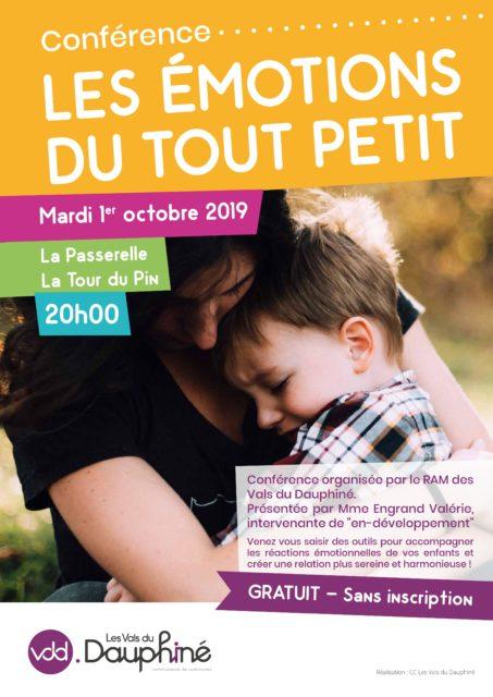 """Affiche conférence """"les émotions du tout petit"""" à la Passerelle à La Tour du Pin"""