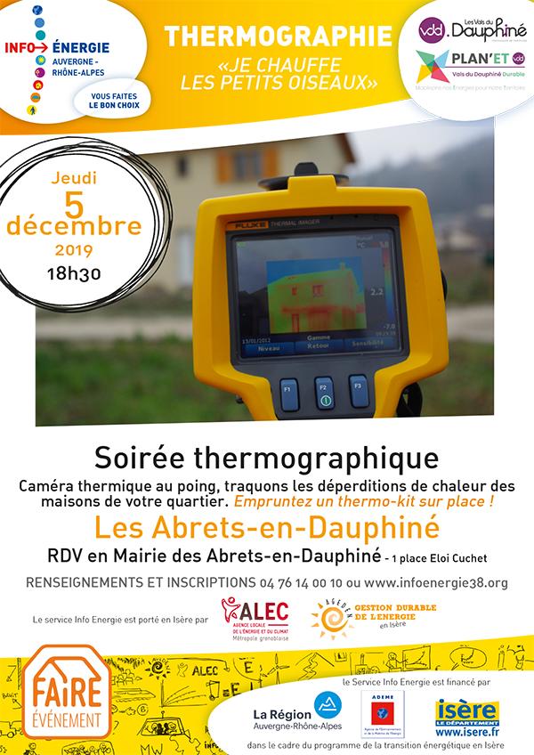 Affiche soirée thermographie aux Abrets en Dauphiné - 5 décembre 2019